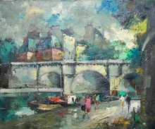 Fernand CLAVER (1918-c.1961) - Vue du Pont-Neuf Paris