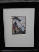 August SCHLÜTER - Drawing-Watercolor - Priester vor Klosteranlage