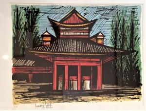 Bernard BUFFET - Estampe-Multiple - Le petit temple Heian, Kyoto