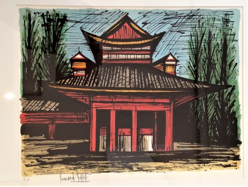 Bernard BUFFET - Estampe-Multiple - Le petit temple Heian, Kyoto