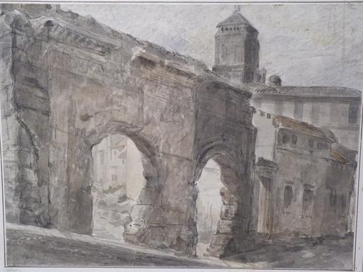 Auguste BIGAND - 水彩作品 - Les Arènes d'Arles