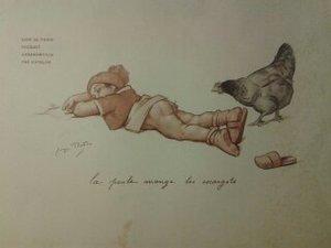 Georges REDON, enfants avec canard menu fouquet's