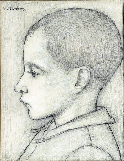 Jan MANKES - Dessin-Aquarelle - young boy in profile