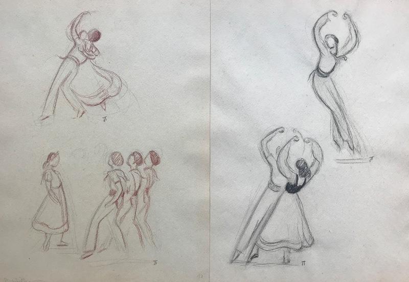Jean TARGET - Drawing-Watercolor - Basque - euskal dantzariak - dances basques