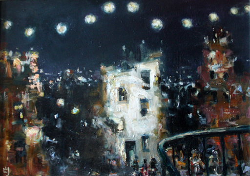 Levan URUSHADZE - Painting - Night city # 2