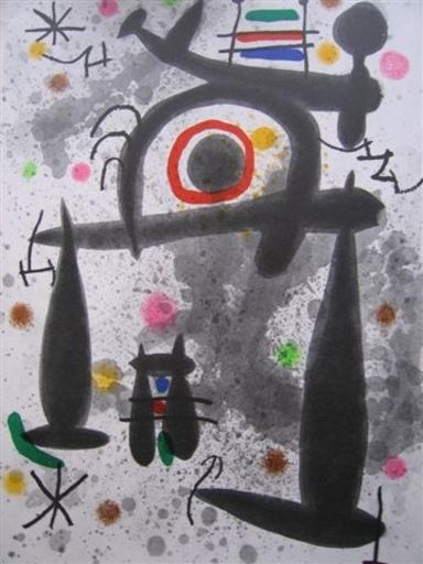 Joan MIRO - Estampe-Multiple - derriere le miroir de l'homme