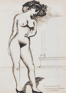 Paul DELVAUX - Drawing-Watercolor - Nu aux escarpins