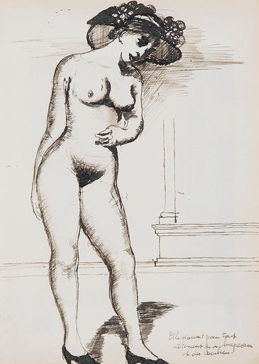 Paul DELVAUX - Drawing-Watercolor - Nu aux escarpins