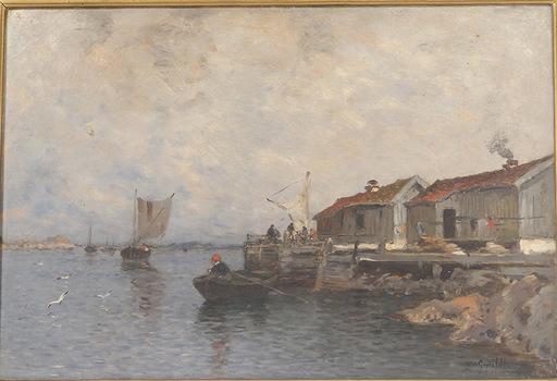 Wilhelm VON GEGERFELT - Pintura - Cabanes de pêcheurs en Suède