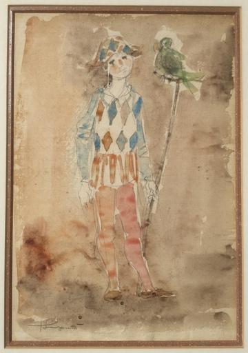 Trento LONGARETTI - Drawing-Watercolor - Arlecchino a Venezia