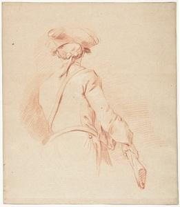 Charles PARROCEL - Disegno Acquarello - Un Fusilier de l'armée française vu de dos