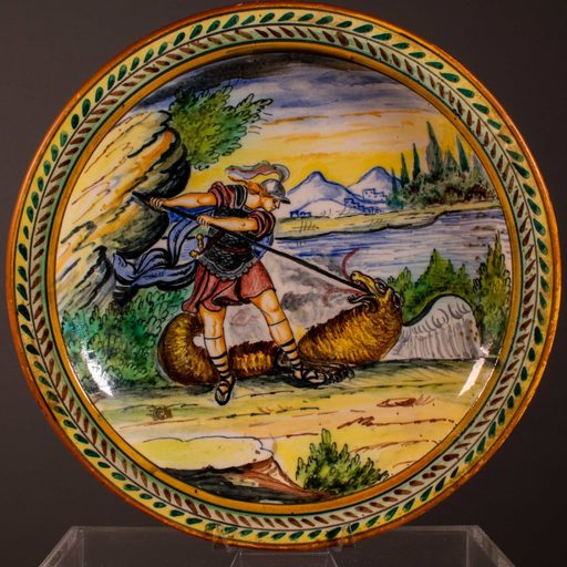Piatto policromo in ceramica di Castelli