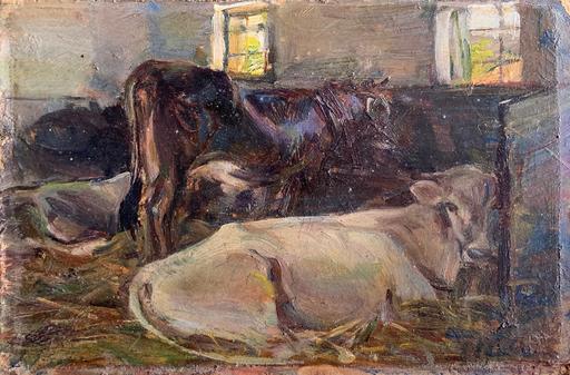 Giulio Ettore ERLER - Pintura - La stalla dei Vettori