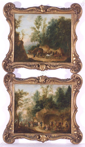"""Christian DIETRICY - 绘画 - """"Pair of Oil Paintings"""", 1742"""