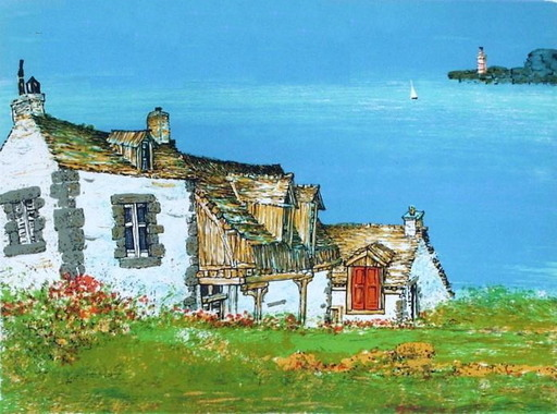 Juvenal SANSO - Radierung Multiple - Brittany houses