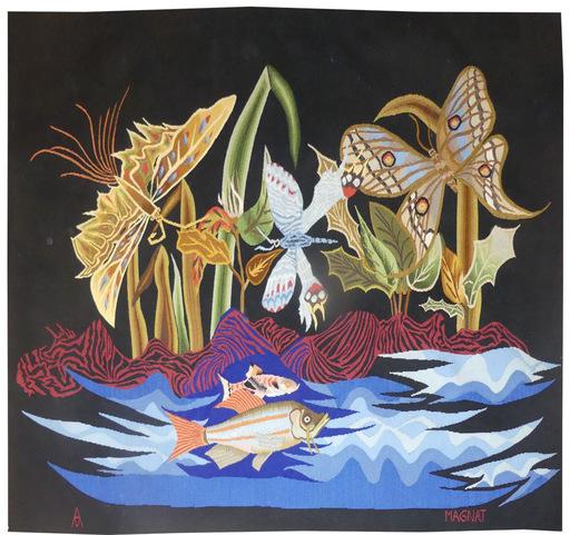 André MAGNAT - Tapisserie - Papillons et poissons