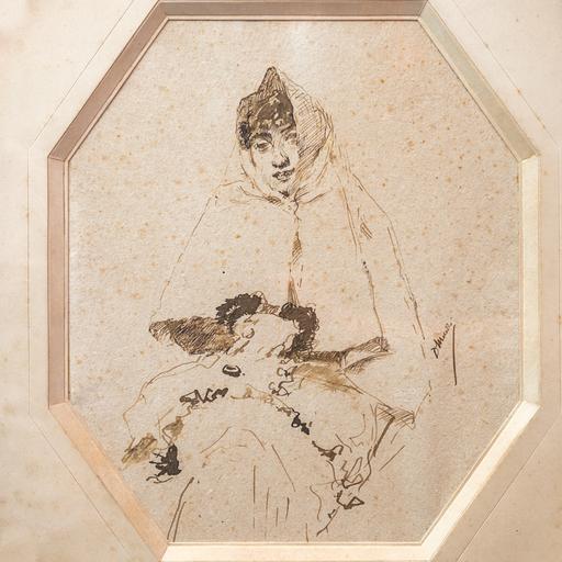 Domenico MORELLI - Disegno Acquarello - Ritratto nobildonna