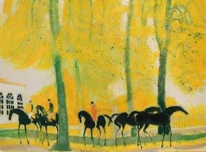 André BRASILIER - Painting - Cavaliers en Automne a Loupeigne