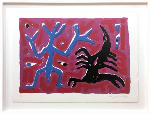 A.R. PENCK - Estampe-Multiple - Skorpion blau-schwarz - Scorpion blue-black