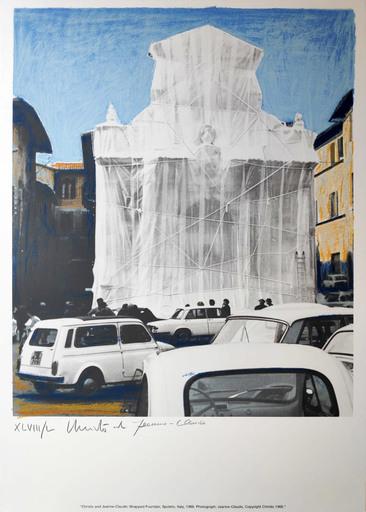 CHRISTO - Grabado - Wrapped fountain Spoleto