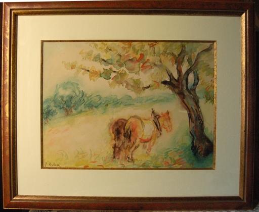 Issachar Ber RYBACK - Dibujo Acuarela - paysage aux chevaux de trait