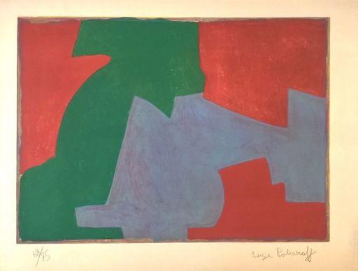Serge POLIAKOFF - Estampe-Multiple - Composition Verte, Bleue et Rouge n°48