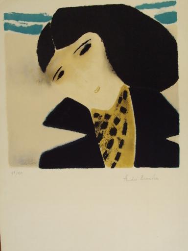 """André BRASILIER - Grabado - """"Les Yeux noirs,Ciel bleu""""1969"""