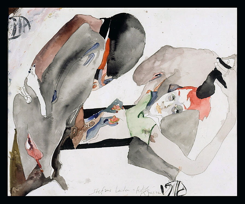 Horst JANSSEN - 水彩作品 - Erotica, 15.3.1992
