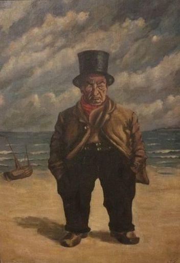 Oswald POREAU - Painting - Old man on the beach