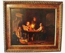 Johann Mongels CULVERHOUSE - Pintura - vader leest voor bij kaarslicht
