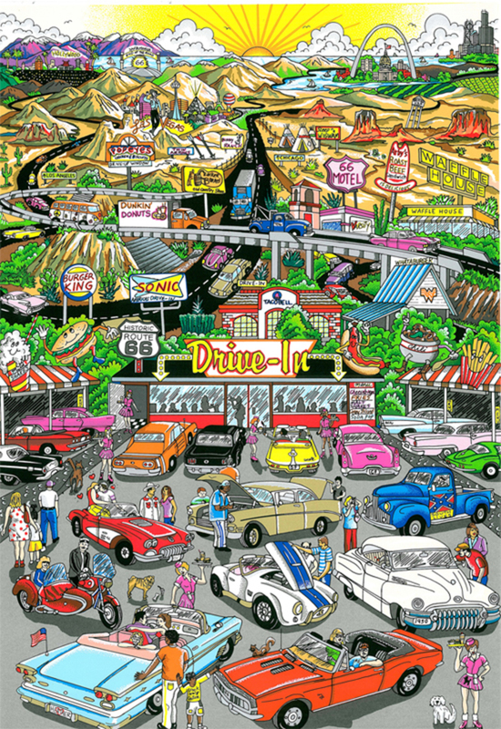 Charles FAZZINO - Stampa-Multiplo - Get your kicks... Route 66