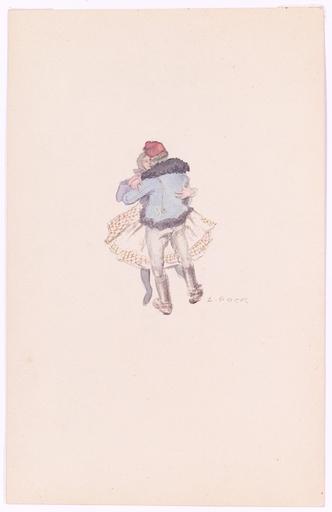 "Alexander POCK - Disegno Acquarello - ""Moravian Dance"", Drawing, Early 20th"