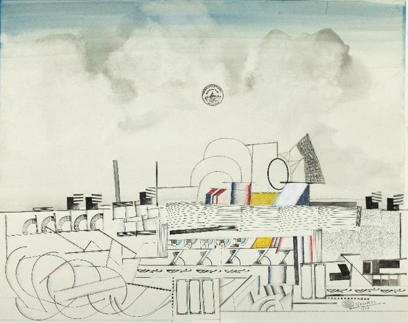 Saül STEINBERG - Dibujo Acuarela - City Planning