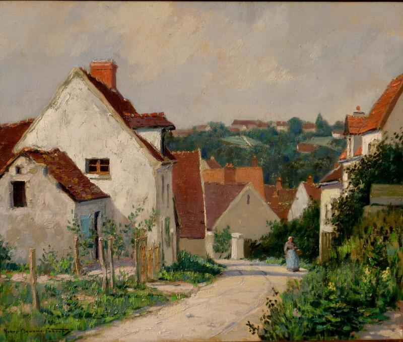 """Henry Maurice CAHOURS - Painting - """"L'OREE DU VILLAGE"""""""