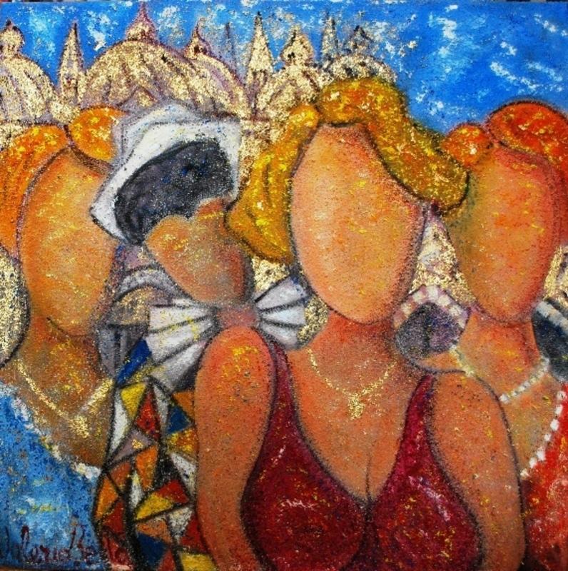 Valerio BETTA - Painting - Amiche a Venezia, con arlecchino - Woman in Venice