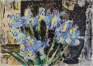Karl SCHMIDT-ROTTLUFF - Disegno Acquarello - Blaue Iris