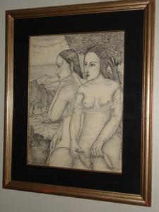 Martin ECHEGARAY Y GARCIA - Zeichnung Aquarell - Dos Amigas