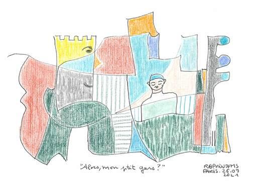 "Reine BUD-PRINTEMS - Zeichnung Aquarell - ""Alors, mon ptit gars ?"""