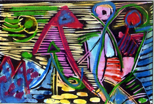Albert HENNIG - 绘画 - Abstrakte Komposition