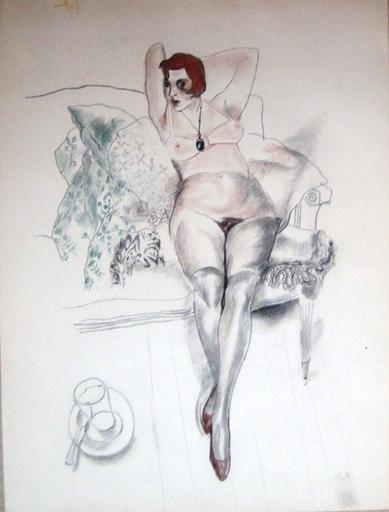 Youri Pavlovitch ANNENKOFF - Disegno Acquarello - Nude (portrait of Valentina Motyleva)
