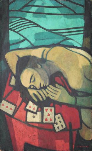 Felice CASORATI - Pittura - Donna con le carte ( su sfondo di campi)