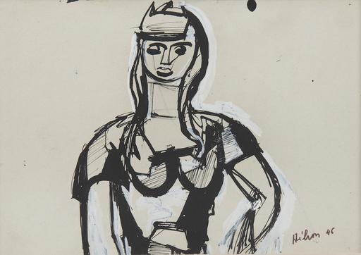 Jean HÉLION - Drawing-Watercolor - Portrait de femme