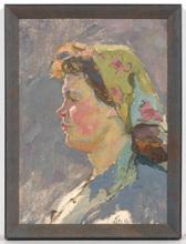 "Vladimir Grigor'evic VLASOV - Pintura - ""Kolkhoz Woman"", Oil Painting"