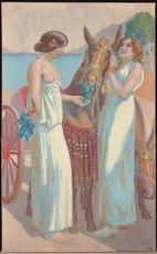 Maurice DENIS - Pintura - Jeux de Nausicca : deux femmes près d'une mûle harnachée