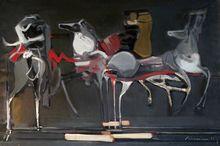 Alfred ABERDAM - Pittura -  Riders  of the Desert (Les cavaliers du desert)