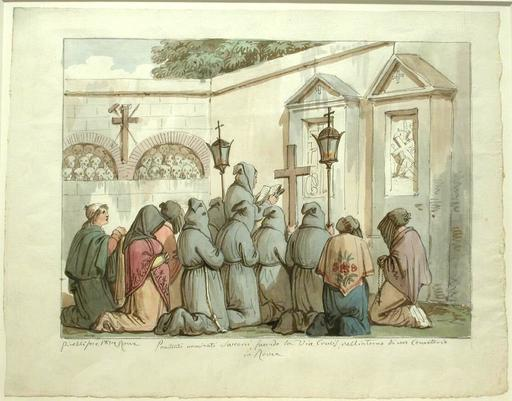 Bartolomeo PINELLI - Drawing-Watercolor - Praying Monks