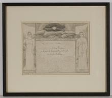 "Gertrud HONZATKO-MEDIZ - Dibujo Acuarela - ""Dedicated to Mother"", 1910, Drawing"