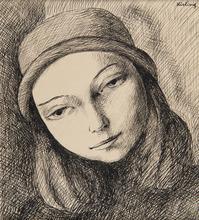 Moïse KISLING - Drawing-Watercolor - Jeune femme au chapeau