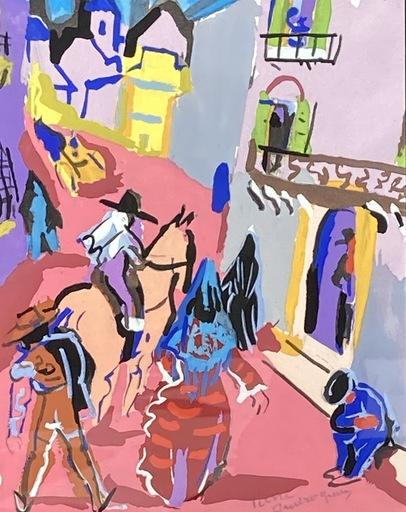 Pierre AMBROGIANI - Zeichnung Aquarell - Cavaliers sévillans
