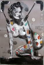 Peter SENGL - Drawing-Watercolor - Helena Christensen farbig einkreisen